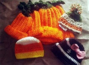 Crocheted kids hats