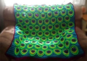 Peacock crochet blanket
