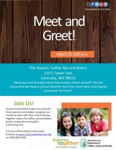 Foster Care Meet and Greet @ The Station: Coffee Bar & Bistro