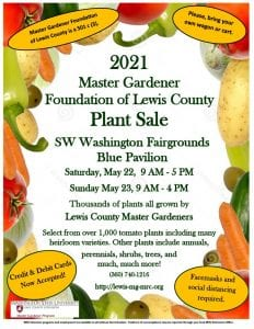The Master Gardener Foundation of Lewis County Annual Plant Sale @ Lewis County Fairgrounds