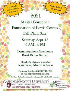 The Master Gardener Foundation of Lewis County Fall Plant Sale @ Fort Borst Park Master Gardener Greenhouse