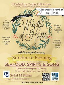 16th Annual Wreaths of Hope & Sundance Evening @ Cedar Hill Acres